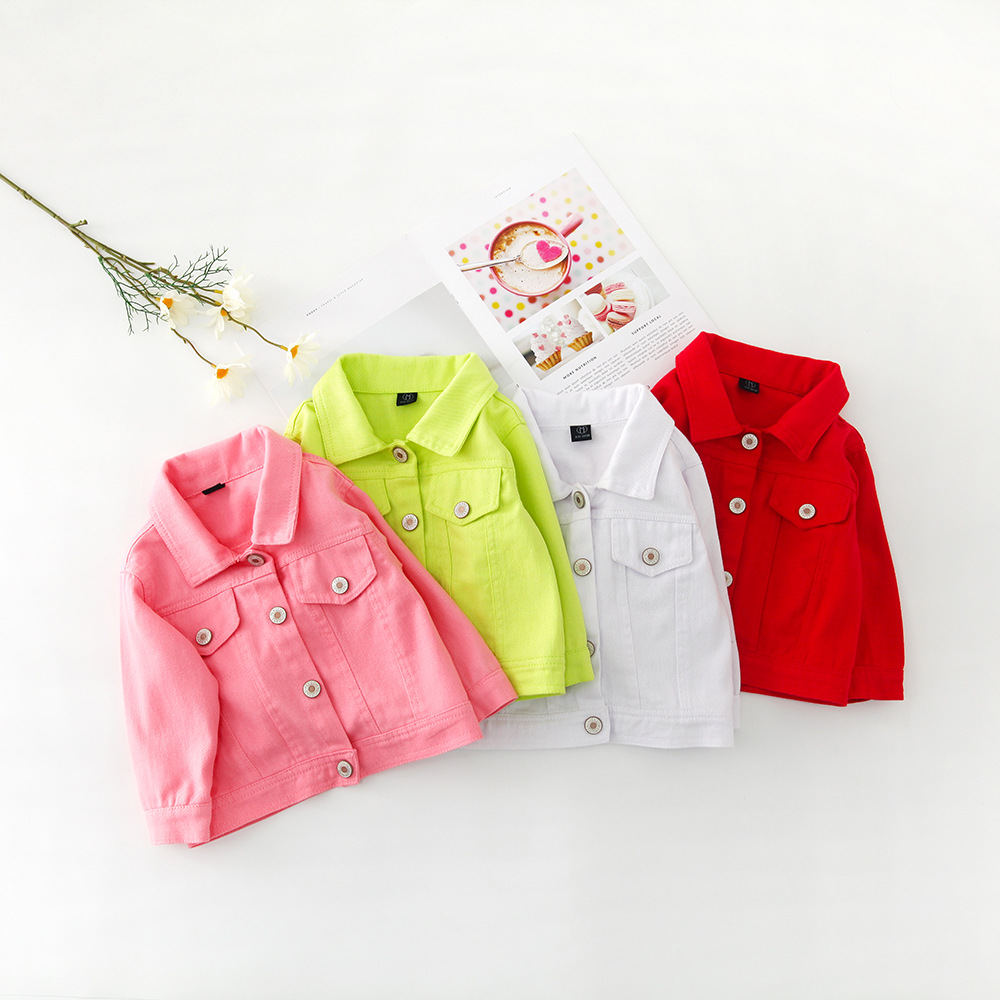 H4be60f6f44384b86b5646b4af1f50c47A - Brand New Baby Girls Boys Candy Color Denim Jacket Kids Cotton Casual Jeans Jackets Children Clothes 1-10age
