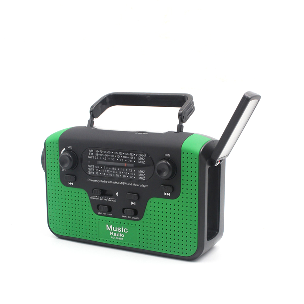 Emergency torch Outdoor FM Solar Radio Hand Crank Powerful LED Flashlight Electric Torch Dynamo Lamp Bright Bluetooth TF Radio