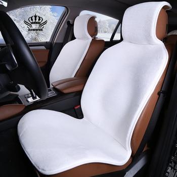 Faux Fur Car Seat Cover Winter White Universal Automotive Interior Artificial Fur Car Seat
