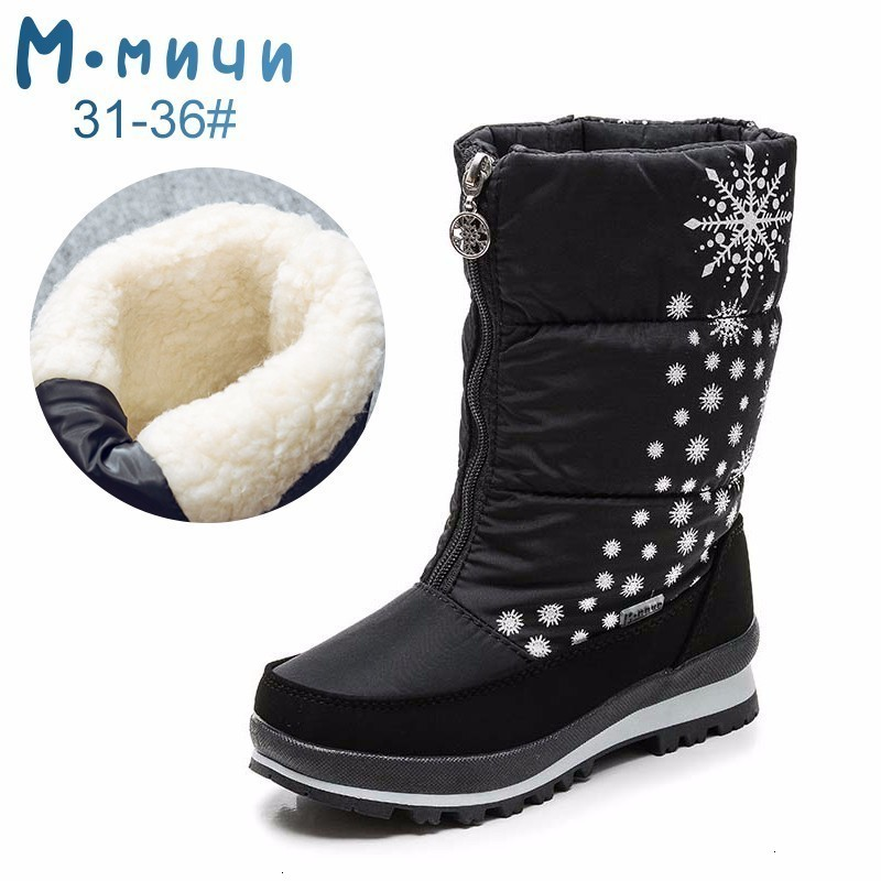 MMNUN 2018 Russian Desinger Children Boots Mid-Calf Girls Boots Girls Snow Boots Waterproof With Elastic Band Size 31-36 ML9640