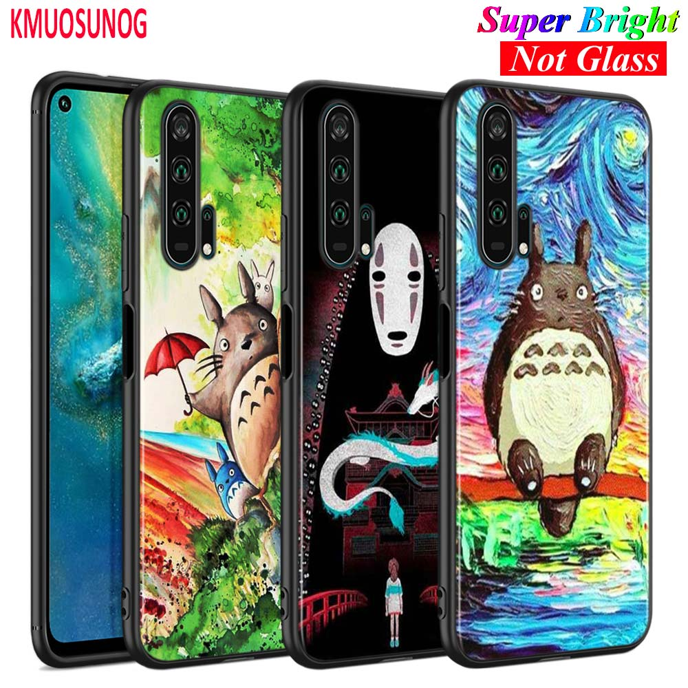 Black Silicone Cover <font><b>Anime</b></font> Totoro Ghibli Spirited for <font><b>Huawei</b></font> <font><b>Honor</b></font> 10i 9X 8X 20 10 <font><b>9</b></font> <font><b>Lite</b></font> 8 8A 7A 7C Pro <font><b>Lite</b></font> Phone Case image
