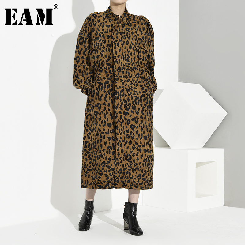 [EAM] Women Leopard Print Oversize Hit Color Trench Stand Long Sleeve Loose Fit Windbreaker Fashion Spring Autumn 2020 1B9350