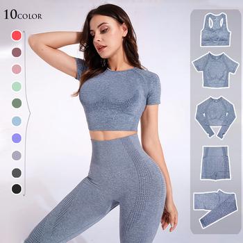 Bezszwowy strój sportowy dla kobiet 2 3 5 elementów joga zestaw trening siłownia fitness długi rękaw crop top legginsy z wysoką talią dresy tanie i dobre opinie CN (pochodzenie) NYLON WOMEN Yoga oddychająca