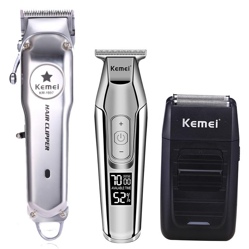 Kemei 모든 금속 전문 전기 충전식 헤어 트리머 이발 기계 키트 KM-1997 KM-1996 KM-5027 KM-1102