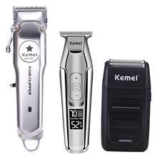 Kemei All Metal Professionale Tagliatore di Capelli Elettrico Ricaricabile Capelli Trimmer Macchina Taglio di Capelli Kit KM 1997 KM 1996 KM 5027 KM 1102