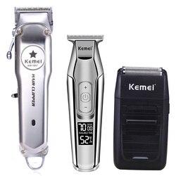Kemei todo o metal profissional máquina de cortar cabelo elétrica recarregável aparador cabelo máquina corte kit KM-1997 KM-1996 KM-5027 KM-1102