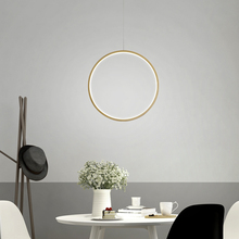 Modern Hanging Circle Round Pendant Light Creative Vertical Ring Pendant Lamp for Dining Room Office Simple Lighting Fixture