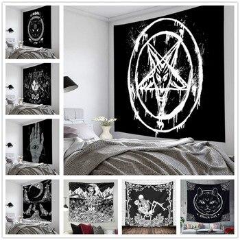 Пентаграмма, флаг сатаны Таро, гобелен с черной кошкой, Настенный декор ручной работы, хиппи, луна, волк, ведьмы, гобелены, настенное одеяло