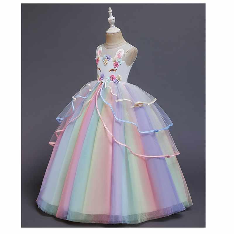 Nuovo Anno Arcobaleno Unicorn Cosplay Ragazze Vestito da Partito Del Fiore Convenzionale Lungo Abito di Sfera Abiti Da Principessa 3-14 Y adolescenti vestido de noiva