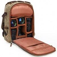 Canvas Camera Backpack for Photographers Durable SLR Waterproof Vintage bag for Men Women DSLR Camera Bag Lens and Accessories