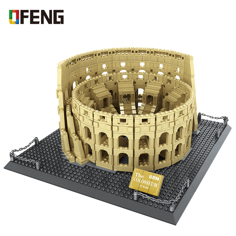 Architecture City Italy Rome Colosseum Building Blocks Sets Bricks Classic City Skyline Model Kids Kits Toys For Children Gifts