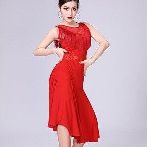 Image 2 - Vestido de baile latino para mujer, Ropa de baile con borlas/Tango/Rumba/traje de baile latino sin mangas, vestido de baile de competencia Latino