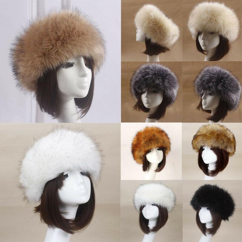 Hot Sale Russian Women Solid Color Thick Fluffy Cap Fake Fur Hat Winter Ski Ear Warmer Fashion Hat