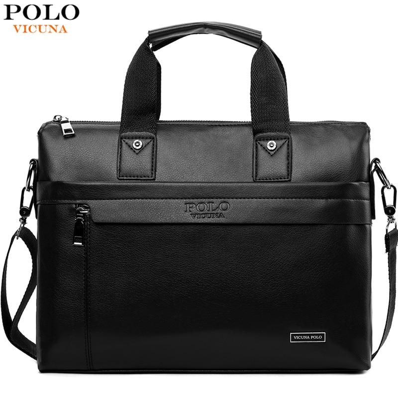 VICUNA POLO Casual Business Man Bag Simple Design Solid Leather Briefcase Bags For Men Laptop Shoulder Bags Mens Handbag
