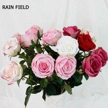 70cm Rose Pink Silk  Fake Flowers Bouquet Big Head Cheap for Home Wedding Garden Decoration Indoor Eternal Gifts