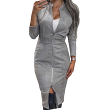 MVGIRLRU Female Long Sleeve Sheath Dress Women Midi High Waist Dress with Pockets Femme Party Suede Dresses