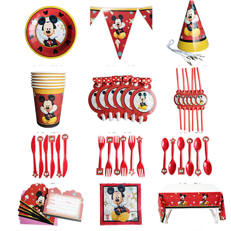 Mickey Mouse Theme Tableware Baby Children Birthday Party Supplies Decorations Boy Family Good Friend Disposable Tableware Party