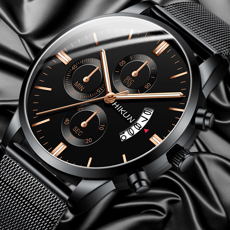 2020 Fashion Mens Watches Luxury Stainless Steel Calendar Date Quartz Wrist Watch Business Sports Men Clocks Uhren Herren