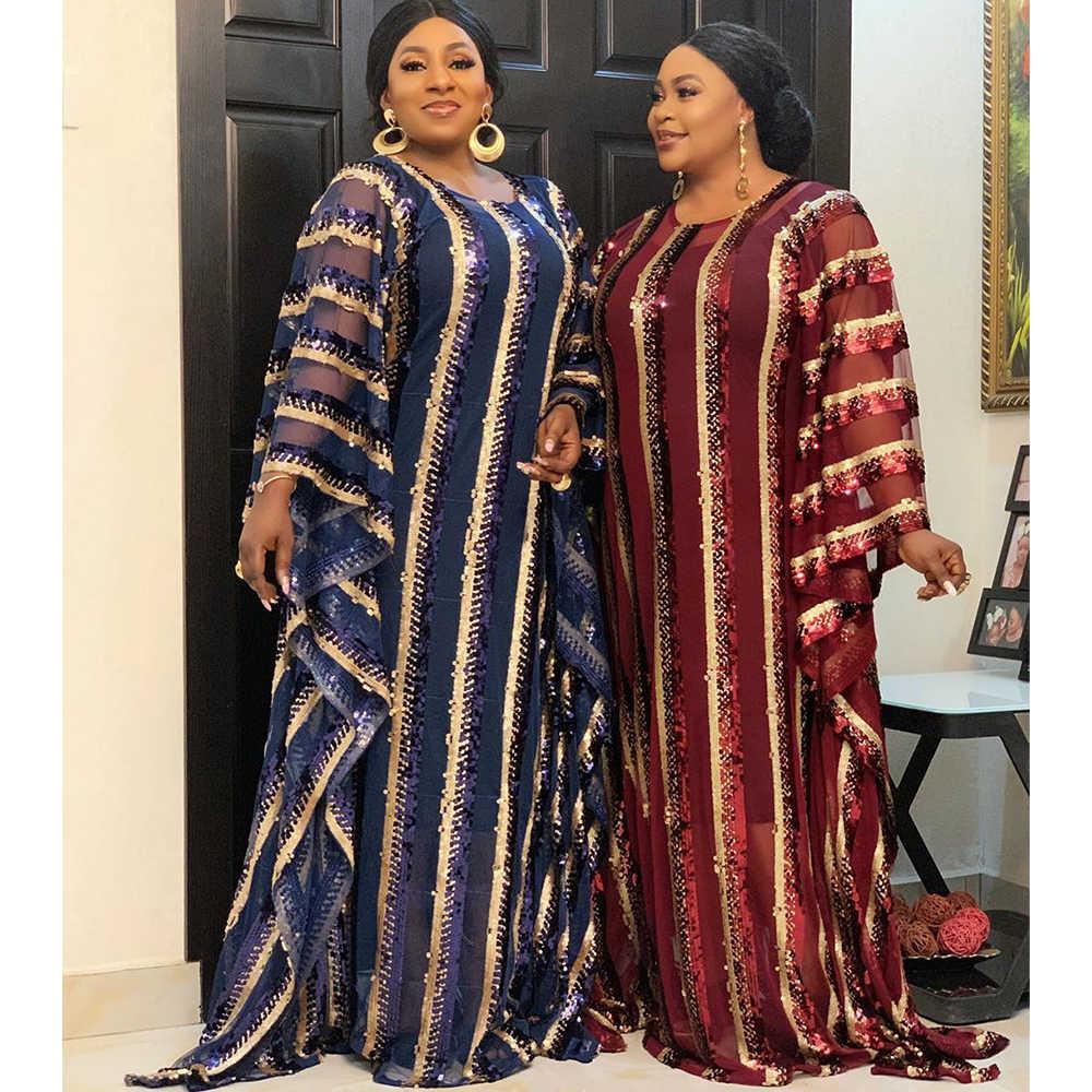 Vestidos africanos de Navidad para las mujeres de talla grande África ropa de noche Vestido largo de alta calidad moda vestido africano para señora