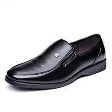 Klasik erkek yuvarlak sivri uçlu ayakkabı inek deri iş rahat ayakkabılar erkek siyah düğün ayakkabı Oxford resmi ayakkabı büyük boy 45