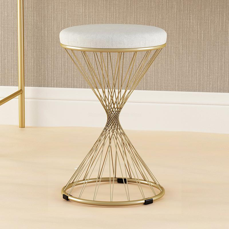 Round Wooden Nails Round Chair Dining Chair Round Stool Stainless Steel Black Stool High Iron Art Economy