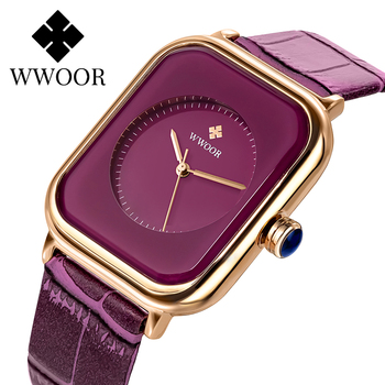 WWOOR Purple Watch Women Simple Style Quartz Rectangle Watch Top Brand Luxury Ladies Dress Wristwatches Leather Casual Big Clock