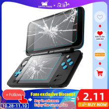DATA FROG 2 Pcs Tempered Glass Screen Protector For Nintendo New 2DS XL/LL Premium Full Cover Screen Protector Film