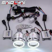 Sinolyn HID 프로젝터 헤드 라이트 렌즈 천사 눈 Bi xenon 렌즈 풀 키트 H7 H4 용 조명 실행 자동차 액세서리 개조 스타일