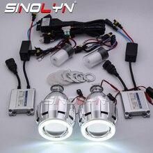 Sinolyn Hid Projector Koplamp Lenzen Angel Eyes Bi Xenon Lens Volledige Kit Running Lights Voor H7 H4 Auto Accessoires retrofit Stijl