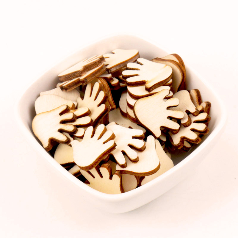 Natural Wood Color Hand Wooden Pattern Scrapbooking Craft For Embellishments Handmade DIY Handicraft Decoration 20mm 50pcs