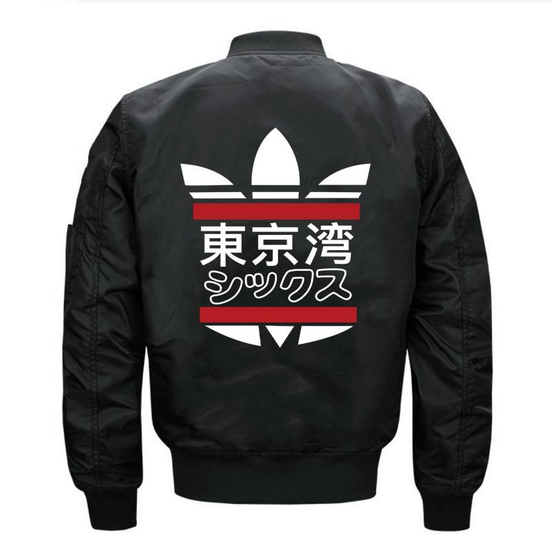 2019 Fashion Japanese Streetwear Tokyo Bay printing Jacket Hip Hop Patch Designs Slim Fit Pilot Bomber Jacket Coat Men Plus Size