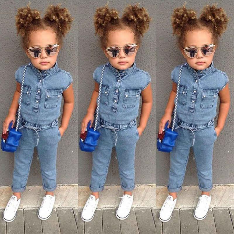 Çocuklar bebek kız Denim Romper yenidoğan uzun tulumlar Playsuit kıyafet giysileri 2019 yaz moda streetwear vogue kız maç