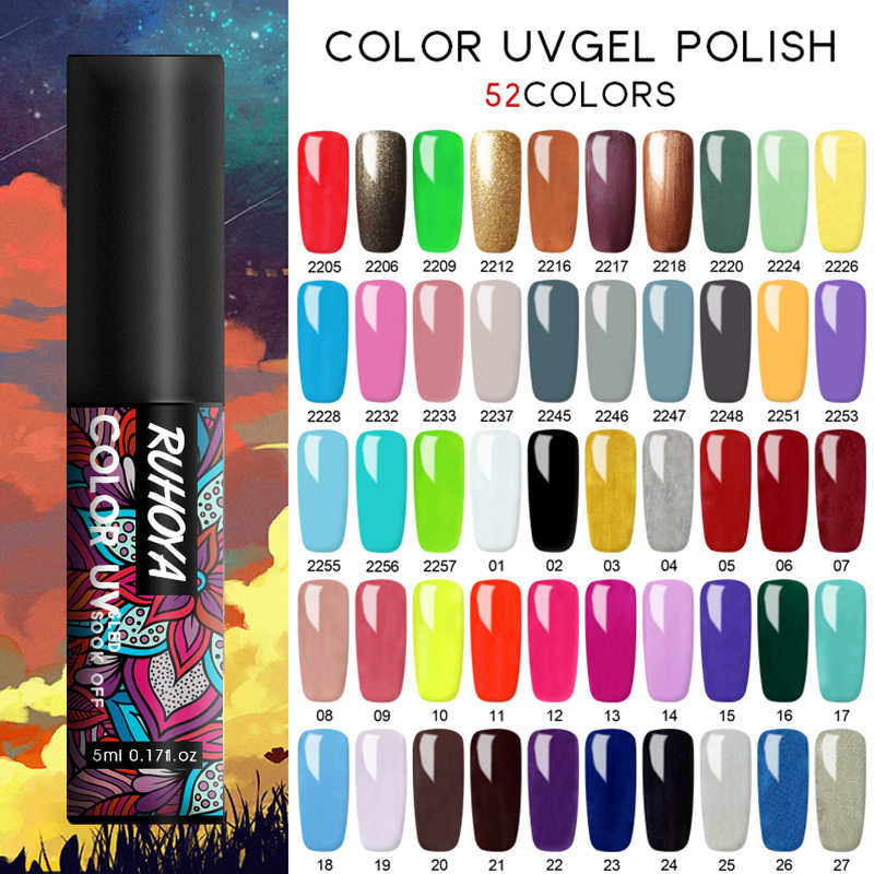 Ruhoya 5 Ml Gel Nail Art Hitam Putih UV LED Gel Cat Kuku Tahan Lama Rendam Off Varnish Gel lacquer Gel Varnish Cat Kuku