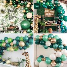 Çocuklar Woodland hayvan doğum günü dinozor parti dekor 30 adet koyu yeşil lateks balonlar helyum topları yetişkin düğün malzemeleri