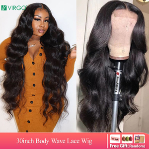 4x4 Lace Closure Wigs 30 inch Wig Human Hair Brazilian Body Wave Lace Wigs for Black Women Pre Plucked with Baby Hair Remy Hair(China)