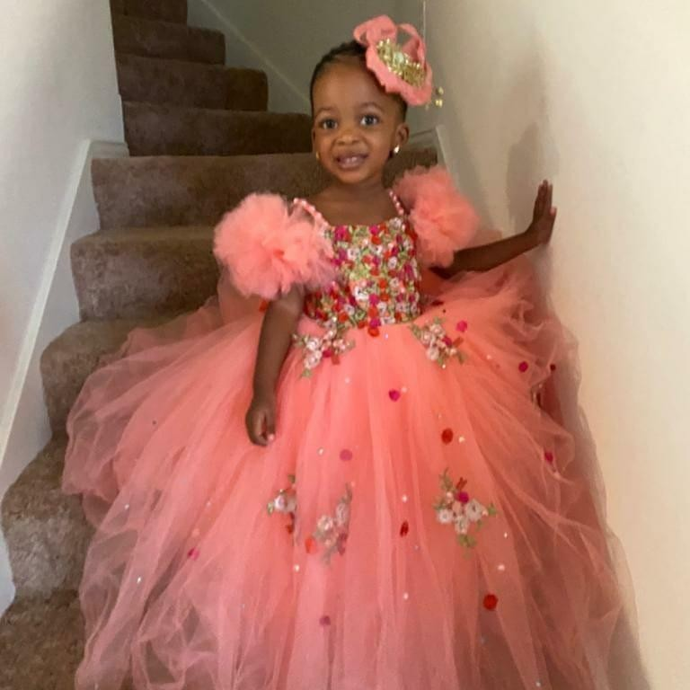 Black Girls Flower Girl Dresses For Wedding Beads Appliqued Ruffles Girls Pageant Gowns Tulle Sequined First Communion Dress