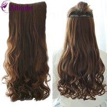 AILIADE-Extensions de cheveux synthétiques longues et ondulées à Clip, postiche en Fiber de haute température noire, pour femmes quotidien 20'22'30'38''