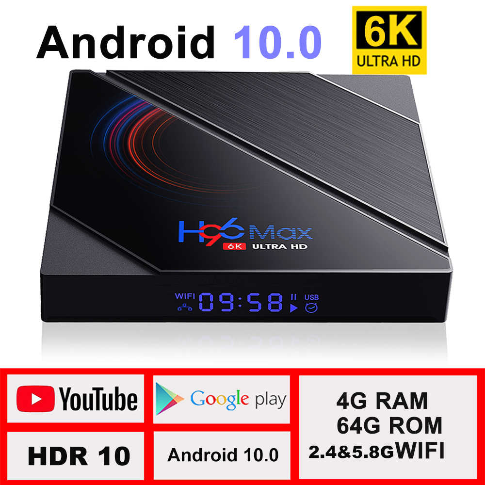 Boîte de télévision android 10 4G 64GB 6K Android TV Box 2020 H96 MAX H616 Smart TV Box LEMFO 2.4G 5.8G WIFI Google décodeur vocal H96max