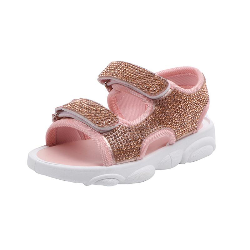 2020 Girls Sandals New Fashion Hot Drilling Princess Shoes Girls Bow Soft Bottom Beach Shoes Toddler Girl Sandals