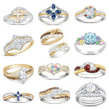New 925 Sterling Silver Ring Golden Charming Diamond Shine Crystal For Women Fashion Jewelry Gift