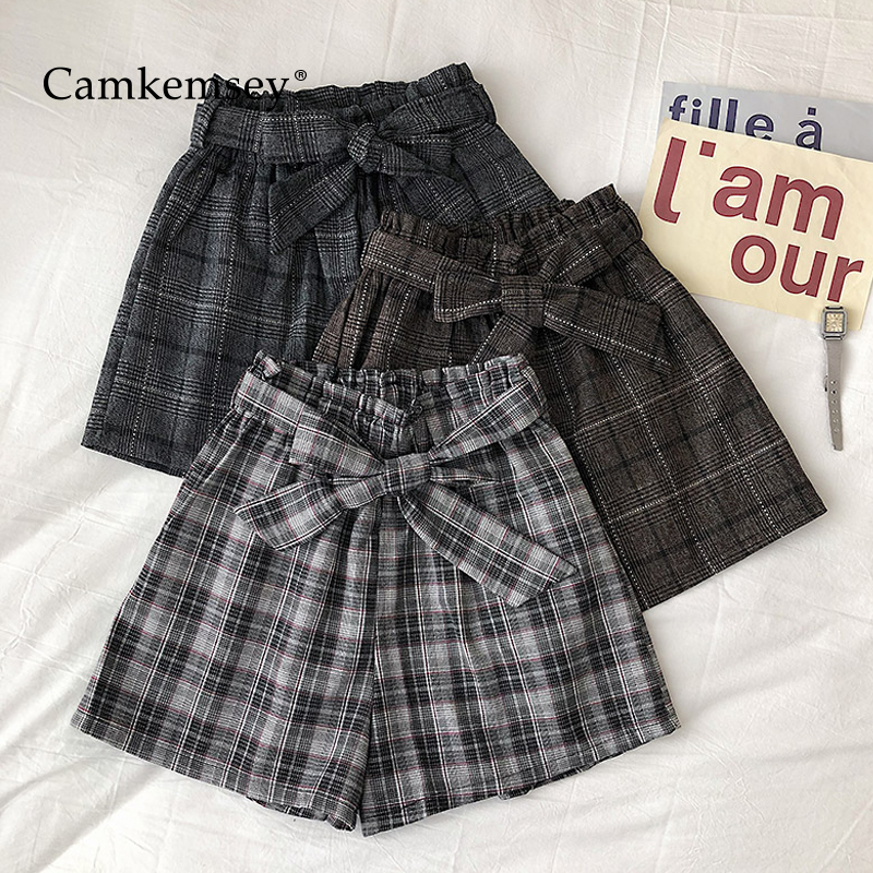 CamKemsey Sweet Bow Tie Autumn Shorts Women Spring Elastic High Waist Japanese Retro Plaid Casual Wide Leg Shorts With Belt