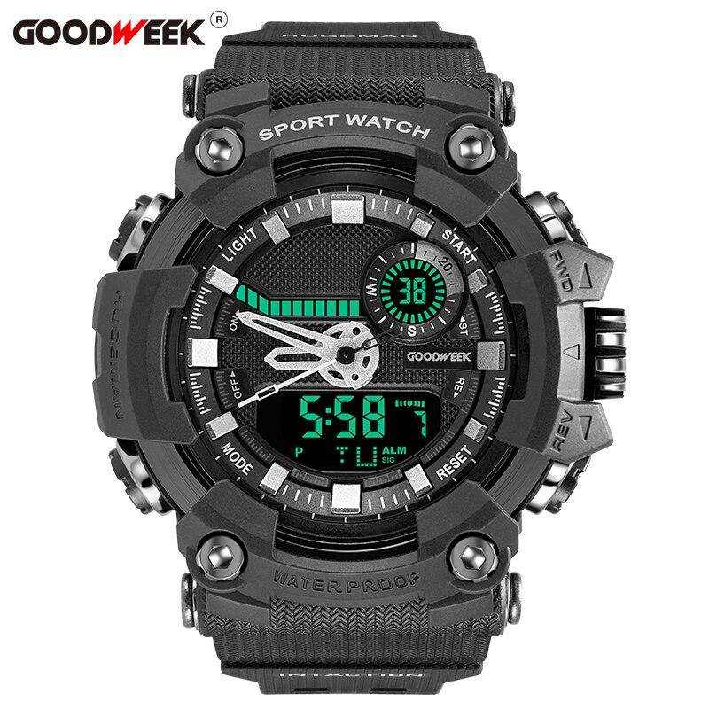 GOODWEEK Military Waterproof Man Sport Watch Multifunctional Analog Digital Quartz Dual Display Watches Relogio Masculino