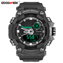 GOODWEEK Military Waterproof Man Sport Watch Multifunctional Analog Digital Quartz Dual Display Watches Relogio Masculino