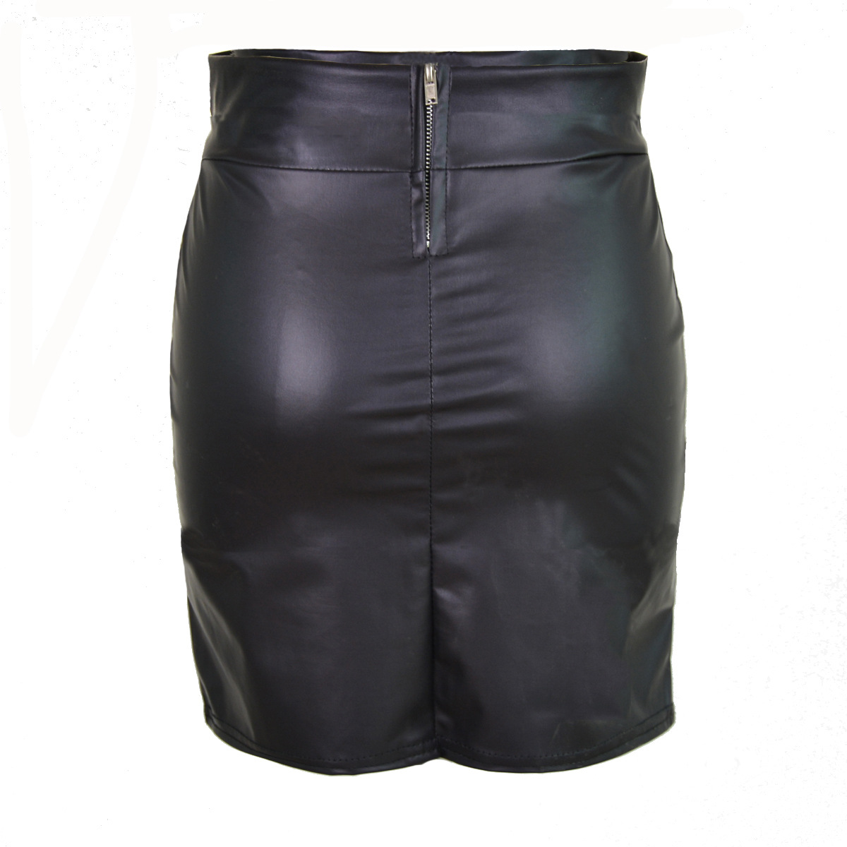 Women Plus Size Faux Leather Skirt Ladies Zipper Korean Style Solid Black Sexy Club Mini Above Knee Empire Skirts