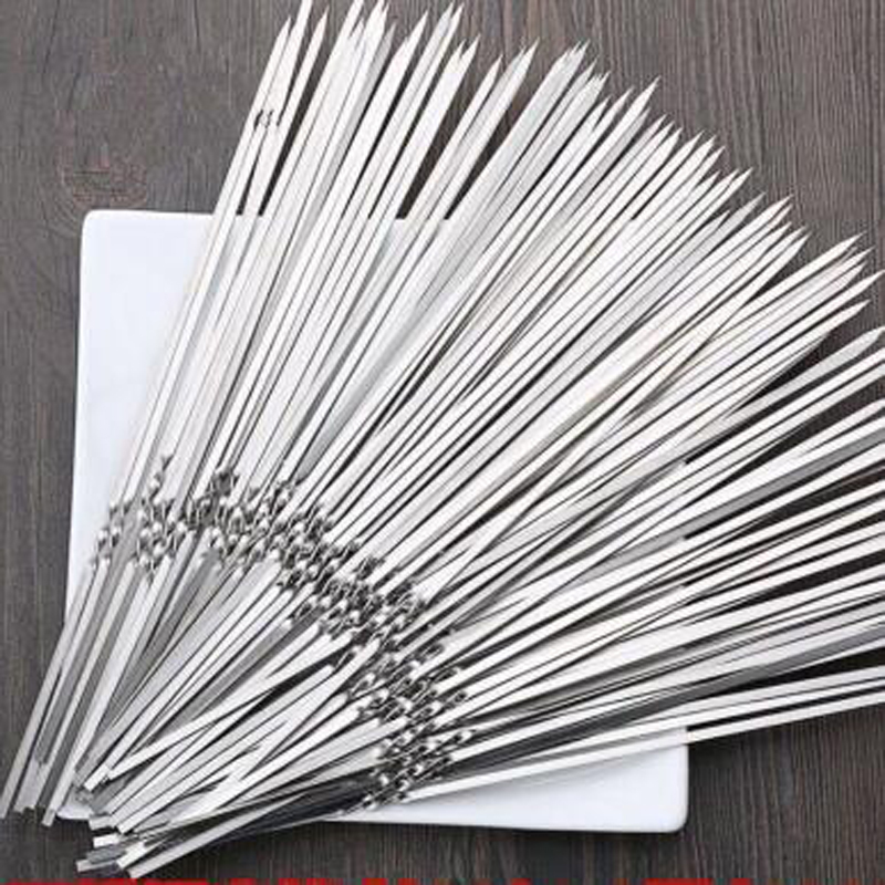 10pcs! Reusable 33cm Metal Long Skewers Needle Stainless Steel Brochette Barbecue Sticks Grilling BBQ Tools Easy Kebab Maker