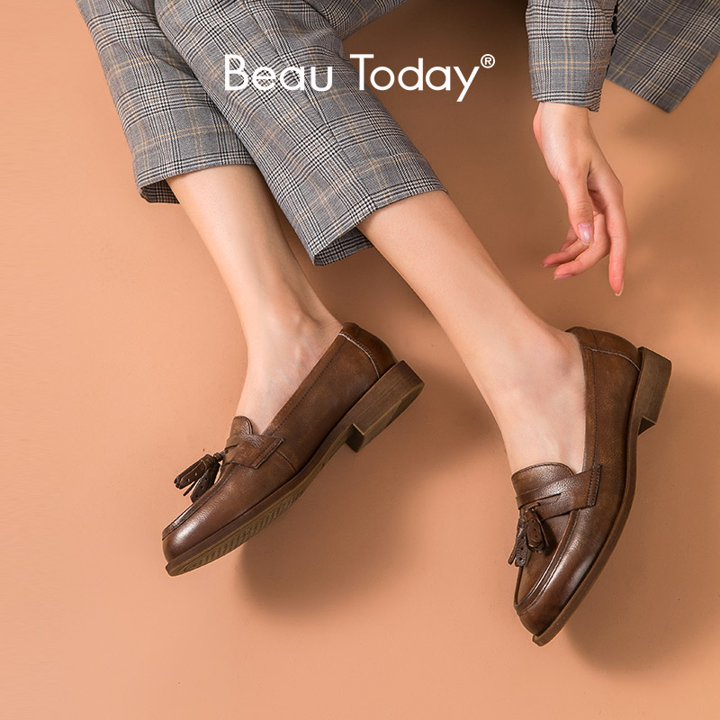 BeauToday Penny Loafers Women Genuine Cow Leather Tassel Round Toe Spring Autumn Slip On Ladies Flat Shoes Handmade 27117