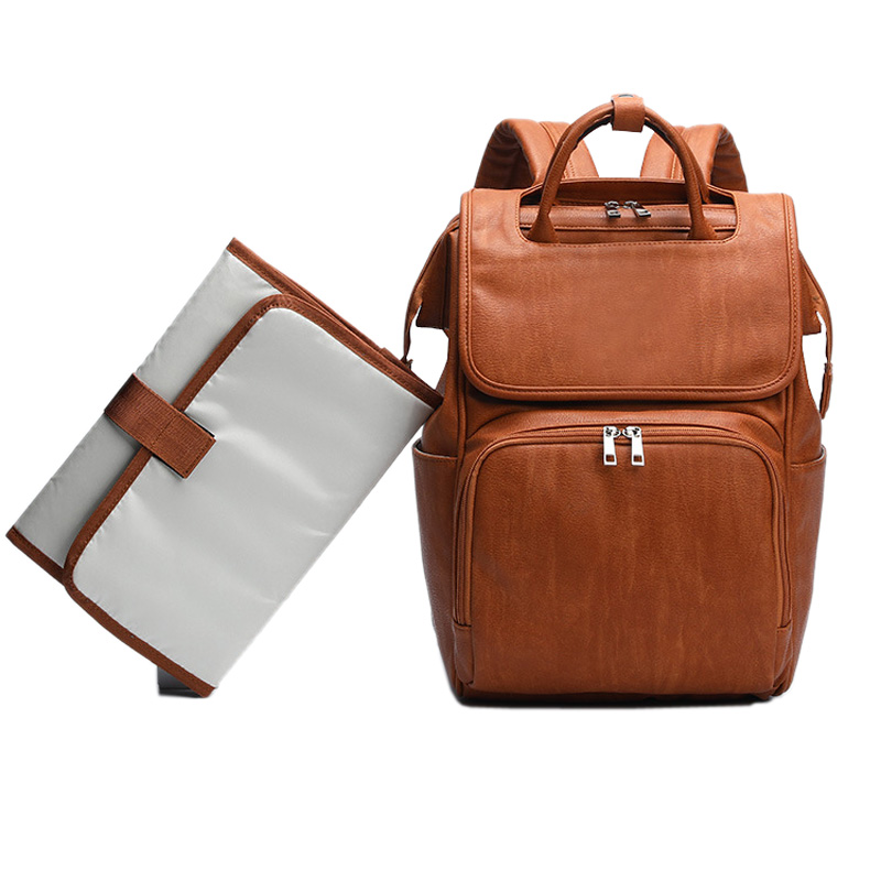 New Unisex Fashion Quality PU Leather Baby Diapers Bag Backpacks Maternity Changing Pad Stroller Straps Baby Bags Water Proof
