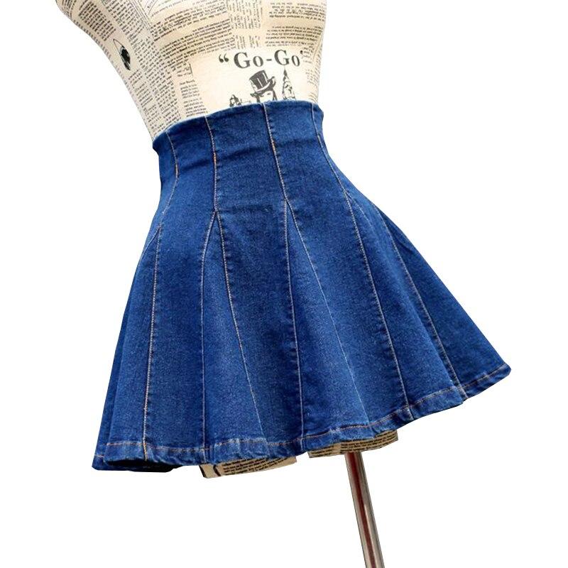Skirts Womens Denim Sexy Pleated 2019 Korean Style Female Skirt School High Waist Tutu Mini Skirts Short Jeans Saia Jupe Femme