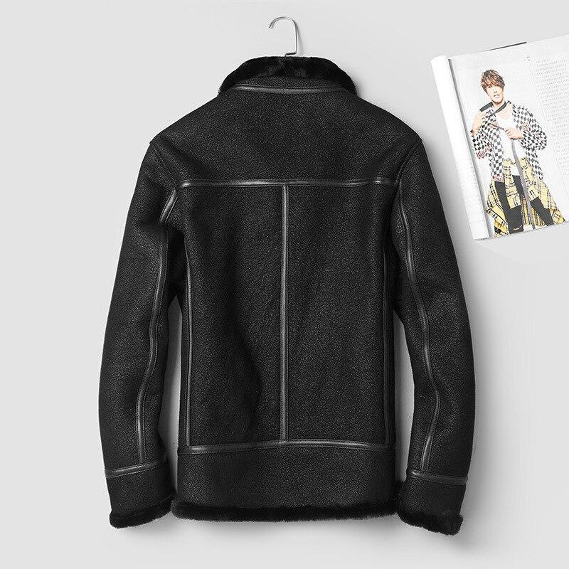 2020 Genuine Leather Jacket Men Winter Sheepskin Coat 100% Wool Lining Vintage Men's Leather Jackets 911-1 KJ3000