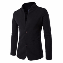 Fashion Mens suit brand blazer slim fit masculino 2019 new fashion terno masculino personality without collar stitching